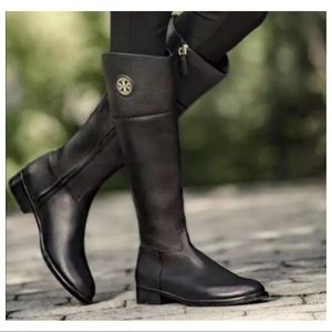 Tory Burch Junction Black Leather Riding Boots